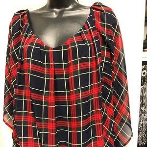 Plaid festive blouse. Plus size.